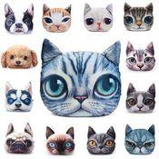 Cão ou gato de impressão 3D divertido cushions\ almofadas decorativas