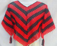 "Poncho Poncho-Crochet-Young Girl Poncho Poncho-Adulto-Handmade de 100% Wool-Height 22 ""-red Cor Pearls -"