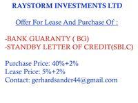 Oferecendo BG / SBLC para arrendamento ou compra -